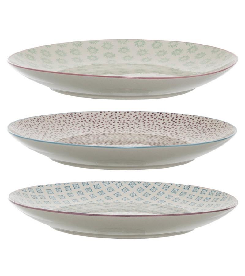 Set 3 farfurii multicolore din ceramica Patrizia Bloomingville