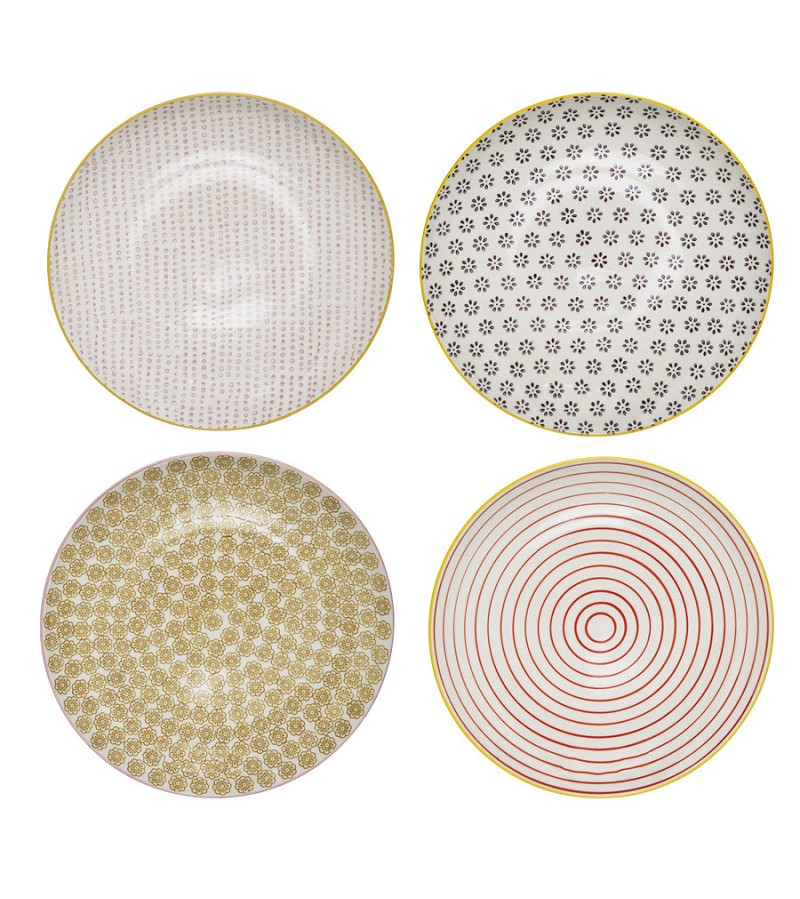 Set 4 farfurii multicolore din ceramica Susie Bloomingville