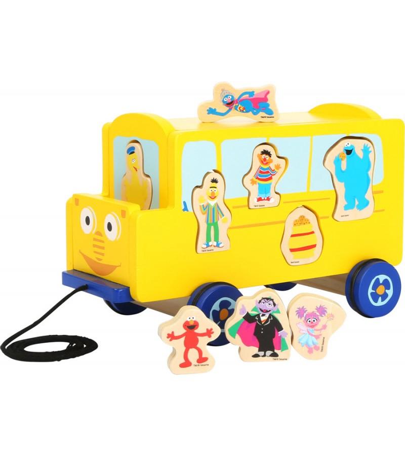 Autobuz jucarie lemn Sesame Street, Multicolor, Legler