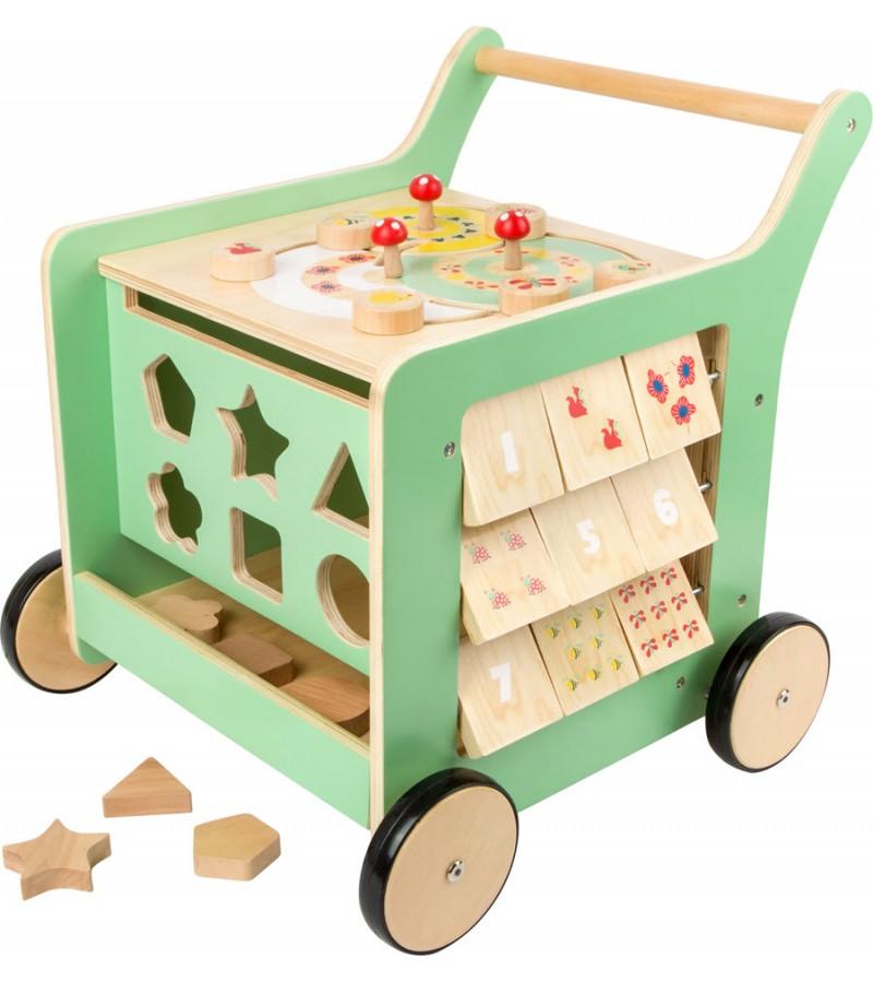 Carucior Walker din lemn pentru copii, Multicolor, Legler