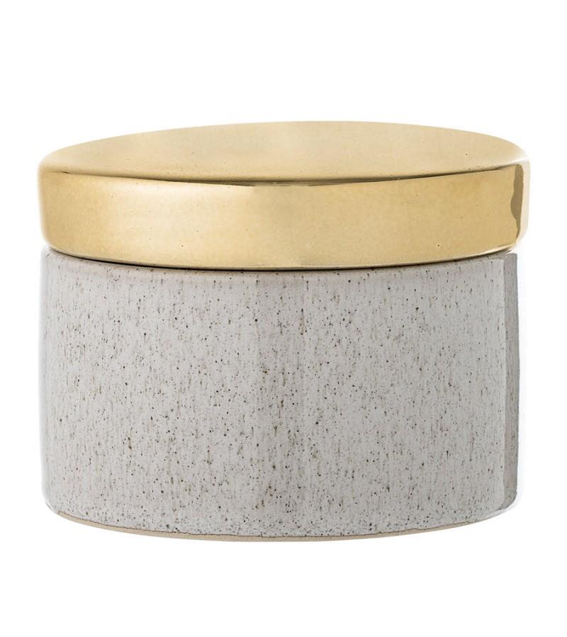 Borcan decorativ natur din ceramica si capac auriu