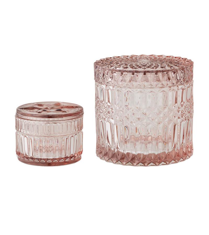 Set 2 borcane din sticla roz