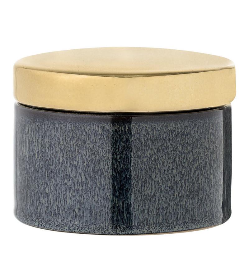 Borcan decorativ albastru din ceramica si capac auriu