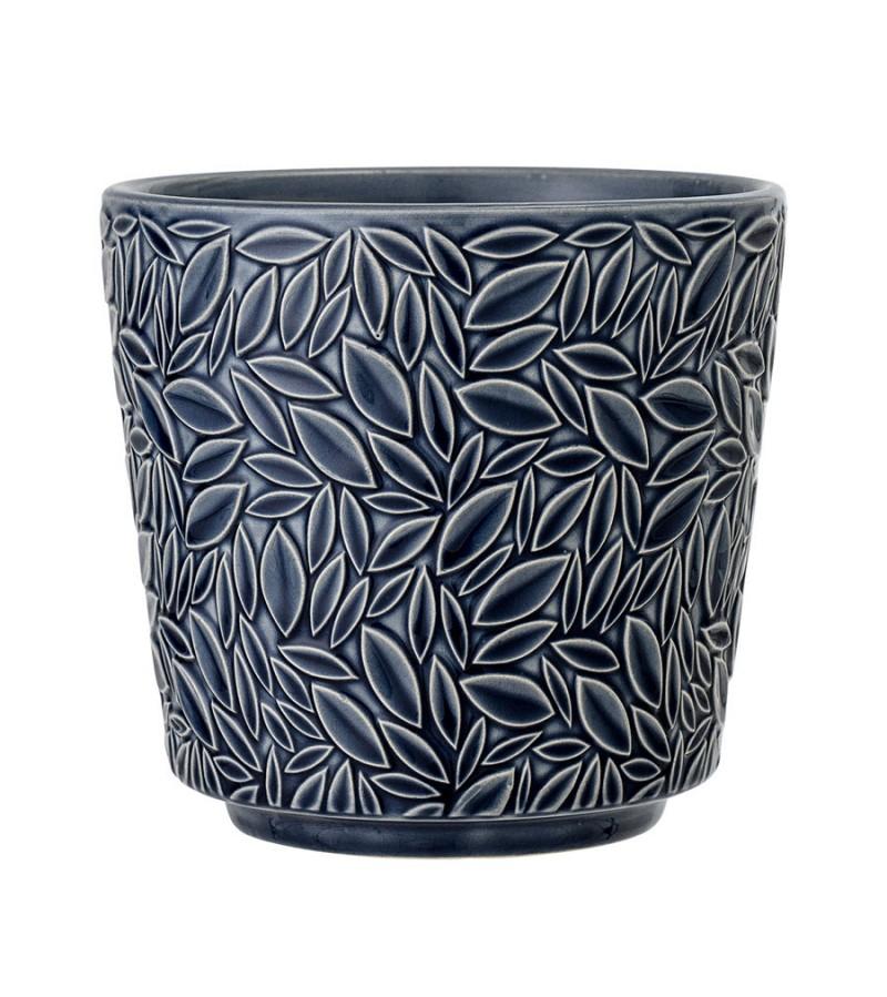 Ghiveci albastru model floral din ceramica Bloomingville