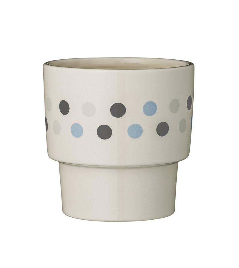 Ghiveci din ceramica culoare alb si buline Bloomingville